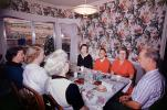 Dinner Party, Table Setting, dinner, bread, women, men, wallpaper, 1950's, FDNV02P12_14