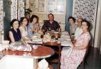 Thanksgiving Dinner, Turkey, table setting, dinner, women, men, wallpaper, 1950's, FDNV02P13_02