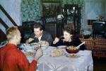 Table Setting, dinner, bread, woman, men, television, feast, 1950s, FDNV02P15_07