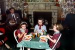 Family Gathering, Children's Table, Chairs, Fireplace, Twins, Thanksgiving Dinner, 1950's, FDNV03P02_14