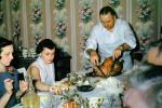 Thanksgiving Dinner, woman, man, cutting, slicing the turkey, wallpaper, feast, table setting, mashed potatoes, 1940s, FDNV03P03_12