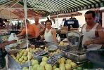 Scales, Woman, Man, Grapefruit, Open Air Market, Nice, France, FGEV01P08_06