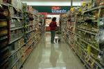 Shopping Cart, Woman, Fresh Meats, Grocery Aisle, Supermarket, Supermarket Aisles, FGNV01P10_03