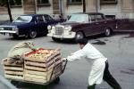 Man, Pushcart, car, vehicle, automobile, October 1969, FPFV01P02_01