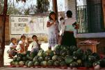 Boys, Girl, eating, Water Melons, Oaxaca, Mexico, FPRV01P05_10