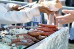 hot dog, wiener, sausage, meat, tube steak, BBQ, grill, onion, Barbecue, tubesteak, hotdog, FPRV01P13_11