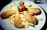 fish and chips, french fries, Deep Fried, Potato, strawberry, Plate, deep-fried