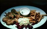 fried shrimp, french fries, coleslaw, tarter sauce, seafood, shellfish, plate, deep-fried