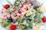 shrimp salad, thousand island dressing, romaine lettuce, boiled egg, radish