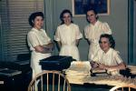 Nurses, cute funny, women, female, uniforms, paperwork, smiles, 1940s, HHAV01P02_18