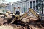 Caterpillar 416 Backhoe Loader, digging a ditch, government building, wheeled tractor, earthmover, earthmoving, dirt