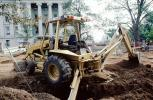 Caterpillar 416 Backhoe Loader, digging a ditch, government building, wheeled tractor, earthmover, earthmoving, ICCV02P03_13