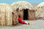 Grass Huts, woman thatching grass, Lake Turkana, Kenya, Sod, ICDV02P05_07