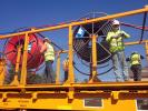 Rolls of Fiber Optic Cables, Laying down Fiber Optic Cables, 2014, Construction for the new SMART train, ICRD01_015