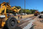 Front Loader, wheeled tractor, Laying down new Rails, 2014, Construction for the new SMART train, ICRD01_026
