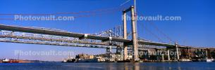 Tower Crane, Carquinez Strait Bridge, Alfred Zampa Memorial Bridge being built, Panorama, Crockett California