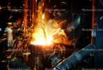 pouring molten metal, ladel, sparks, IHMV02P03_06