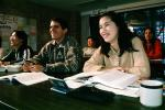 Woman, Man, smiles, studying, classroom, books, KECV02P13_13