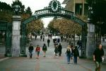 Sather Gate, Sproul Plaza, Landmark, students, walking, arch, UC Berkeley, UCB, KECV03P04_09
