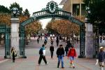 Sather Gate, Sproul Plaza, Landmark, students, walking, arch, UC Berkeley, UCB, KECV03P04_10