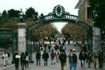 Sather Gate, Sproul Plaza, Landmark, students, walking, arch, UC Berkeley, UCB, KECV03P04_12