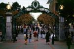 Sather Gate, Sproul Plaza, Landmark, students, walking, arch, UC Berkeley, UCB, KECV03P04_19