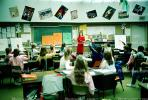 training, instruction, teachers, teaching, classroom, class room, raised hands, chalkboard, KEDV01P03_16