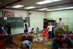 training, instruction, teachers, teaching, classroom, class room, exercising, trampoline, chalkboard, KEDV01P03_17
