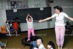 training, instruction, teachers, teaching, classroom, class room, exercising, trampoline, chalkboard, KEDV01P04_04