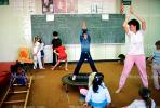 training, instruction, teachers, teaching, classroom, class room, exercising, trampoline, chalkboard, KEDV01P04_07