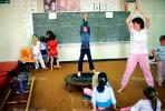 training, instruction, teachers, teaching, classroom, class room, exercising, trampoline, chalkboard, KEDV01P04_08