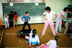 training, instruction, teachers, teaching, classroom, class room, exercising, trampoline, chalkboard, KEDV01P04_09