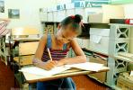 Girl, Desk, Classroom, writing, test, Student, KEDV01P13_14