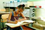 Girl, Desk, Classroom, writing, test, Student, KEDV01P13_16