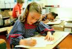 Girl, Desk, Classroom, writing, test, Student, KEDV01P14_08