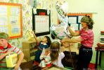balloons, lunchpail, wallpaper, girls, boy, woman, Students in a Classroom, KEDV02P11_10