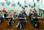 Students in a classroom, desks, class, girls, boys, smiles, smiling, KEDV02P12_06