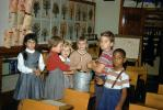 Multi-Ethnic, Boys, Girls, Dress, Female, Male, Diversity, Pail, Classroom, 1950s