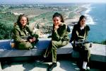 Looking south, Israeli Coast, IDF, Israeli Defense Force, Women, smiles, Rosh Ha'Nikra, coastline, Mediterranean Sea, soldiers
