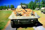 A12 Recon, Tank, Mobile Gun, ww II, world war two, wheeled vehicle, Camp Shelby, Mississippi, head-on, MYAV03P01_13
