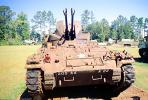 205 AA 22, Anti-Aircraft Gun, Tank, ww II, world war two, tracked vehicle, Camp Shelby, Mississippi, head-on, MYAV03P02_04