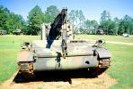 Crane, ww II, world war two, tracked vehicle, Camp Shelby, Mississippi, head-on, MYAV03P02_05