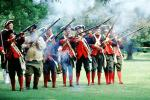 Revolutionary War, combat, battlefield, troops, uniforms, americana, soldiers, colonial, rifles, shooting, smoke, American Revolution, History, Historical, British Army, War of Independence, Infantry, soldiers, musket, gun, firepower, MYAV03P13_09