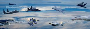 Many Jet Fighters, United States Air Force, USAF, Panorama