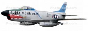 F-86 Sabre, North American, Transonic Jet Fighter, Aviation, Aircraft, Airplane, swept wing, Plane, single-engine, single-seat, Sabrejet, low-wing, turbojet, FU-993, F-86D Sabre Dog, photo-object, object, cut-out, cutout