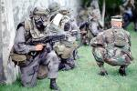 camouflage, gas mask, chemical warfare, biological, Operation Kernel Blitz, M16 Rifle, Monterey, urban warfare training, MYMV01P14_16