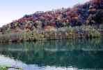 Reflecting Lake, Woodland, Forest, Trees, Hill, autumn, water, deciduous, NORV01P03_06