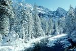 Smooth Snow Covered Rocks, Merced River, Snowy Trees, Valley, Forest, Winter, Woodland, NPYV02P02_03