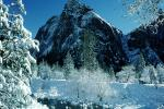 Smooth Snow Covered Rocks, Merced River, Snowy Trees, Valley, Forest, Winter, Granite Cliff, Woodland, NPYV02P03_01