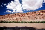 Cumulus Puffy Clouds, Colorado River, Water, trees, Sandstone Cliff, stratum, strata, layered, sedimentary rock, silt, mud, muddy, NSUV03P09_09